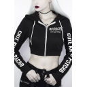 Popular Letter ROCK MORE Printed Long Sleeve Zip Up Black Cropped Drawstring Hoodie