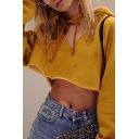 Girl Sexy Triangle Hollow Out Long Sleeve Plain Yellow Cropped Loose Drawstring Hoodie