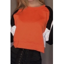 Fall Stylish Color Block Long Sleeve Round Neck Orange Crop Pullover Sweatshirt