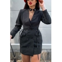 Womens Elegant Long Sleeve Side Tied Double Breasted Plain Black Longline Blazer Coat with Pocket