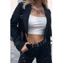 Womens Trendy Lapel Collar Eyelets Tape Embellished Long Sleeve Black Cropped Blazer Coat