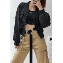Womens Fashion Stand Collar Long Sleeve Push Buckle Front Plain Short Bomber Jacket