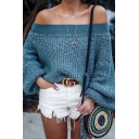 Womens Fashion Blue Lantern Long Sleeve Off the Shoulder Loose Fit Chunky Sweater