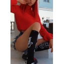 Womens Basic High Collar Long Sleeve Cropped Red Fitted Knitted Pullover Sweater
