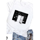 Girls White Unique Universe Outer Space Print Short Sleeve Relaxed Fit Casual T-Shirt Top