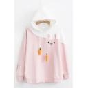 Color Block Rabbit Carrot Drawstring Hood Long Sleeve Baggy Cute Pullover Hoodie