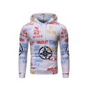 Men Casual Allover Letter Number Printed Long Sleeve Fitted Hoodie with Pocket
