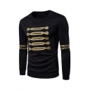 Guys Vintage Lines Printed Long Sleeve Round Neck Fitted Pullover Sweatshirt