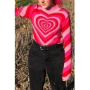 Exclusive Heart Printed Long Sleeve Mock Neck Pink Casual Pullover Sweater Knitwear