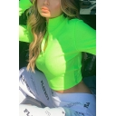 Womens Sexy Solid Fluorescent Green Half-Zip Placket Long Sleeve Ribbed Knit Slim Fit Crop Sweater Top