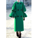 Plain Green Elegant Flared Sleeve Double Breasted Longline Shift Peacoat