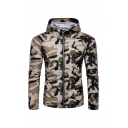 Mens Classic Camouflage Long Sleeve Zip Placket Slim Fit Hooded Sports Jacket Coat