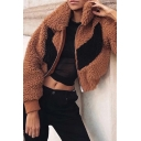 Womens Classic Color Block Chevron Pattern Lapel Long Sleeve Zip Placket Brown Faux Shearling Jacket Coat
