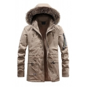 Winter Warm Ribbon Embellished Zip Up Thick Long Outdoor Down Coat with Removable Fur Trim Hood