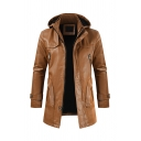 Men's Casual Stand Collar PU Faux Leather Zip-Up Belted Light Brown Long Motorcycle Jacket with Hood