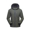 Mens Popular Solid Long Sleeve Full Zip Casual Windproof Hooded Windbreaker Outdoor Jacket