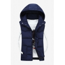Navy Blue Solid Sleeveless Zip Up Warm Padded Vest with Hood for Couple
