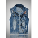 Men's Blue Lapel Sleeveless Button Down Ripped Destroyed Casual Jean Vest Waistcoat