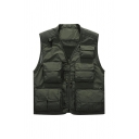 Mens Simple V-Neck Sheer Mesh Panel Zip Closure Multi-Pocket Dry Quickly Army Green Oversized Military Vest