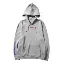 Unisex Casual Simple Letter Printed Long Sleeve Kangaroo Pocket Baggy Drawstring Hoodie