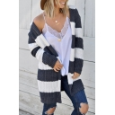 Womens Simple White and Gray Stripe Printed Long Sleeve Purl-Knit Longline Cardigan Coat with Hood