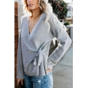 Womens Plain V-Neck Surplice Tied Waist Long Sleeve Casual Loose Knit Sweater Cardigan