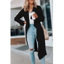 Womens Stylish Plain Waterfall Long Sleeve Longline Casual Duster Cardigan Coat
