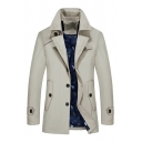 Men's New Trendy Notched Lapel Collar Button Closure Plain Fitted Tunic Trench Coat