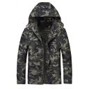 Mens Cool Camo Printed Long Sleeve Zip Up Slim Fit Casual Hooded Jacket Coat