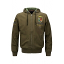 Mens Popular Letter ASSTSERIES MILITARE Badge Embroidery Zip Up MA-1 Bomber Jacket with Drawstring Hood