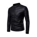 Mens Simple Plain Black Snap Collar Long Sleeve Zip Placket Slim Fit PU Jacket