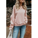 Womens Sweet Style Pink Ruffle Trimmed Long Sleeve Round Neck Regular Pullover Sweatshirt