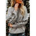 Womens Unique Stringy Selvedge Patched Long Sleeve Plain Casual Pullover Sweatshirt