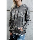 Ladies Fashion Camo Printed Long Sleeve Kangaroo Pocket Gray Drawstring Oversized Thin Hoodie
