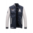 Mens Popular Chest Letter A Printed Color Block Long Sleeve Zip Placket Slim Fit Baseball Jacket with Pocket