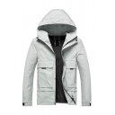 Mens New Fashionable Long Sleeve Zip Placket Flap Pocket Slim Fit Plain Hooded Sports Shell Jacket
