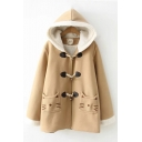 Cute Cat Design Pocket Long Sleeve Oversized Thick Woolen Duffle Coat with Hood