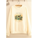 Womens Casual Sunflower Printed Long Sleeve Oversized Pullover Sweatshirt