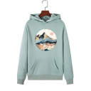 Womens Cute Landscape Painted Long Sleeve Casual Pullover Hoodie with Kangaroo Pocket