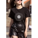 Womens Chic Bullseye Pattern Short Sleeve Casual Black Pullover T-Shirt