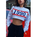 Fashionable Letter NEW YORK SINCE 1990 Stripe Printed White Long Sleeve Cropped Sweatshirt
