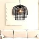 Metal Cage Frame Ceiling Pendant Light Vintage 1 Light Hanging Light in Black Finish for Living Room