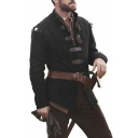 New Plain Stand Collar Long Sleeve Leather Buckle Embellished Medieval Jacket Coat
