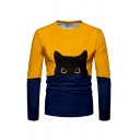 Creative Cat Pattern Colorblocked Long Sleeve Fitted T-Shirt Top