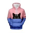 Unisex Cute Cat Digital Printed Color Block Long Sleeve Drawstring Hoodie with Pocket