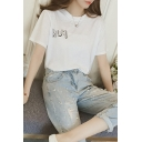 Lovely FLOWERS Printed Short Sleeve Round Neck Loose Casual Graphic T-Shirt
