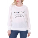 Hot Letter PIVOT Sofa Pattern Long Sleeve Slim Fit White Pullover Sweatshirt Top