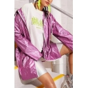 Womens Casual Fluorescent Purple Drawstring Hood Zipper Longline Loose Windbreaker Coat