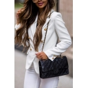 Plain Fashion Lapel Collar Double Breasted Long Sleeve Slim Casual Uniform Blazer Coat for Women