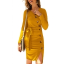 Ladies Sexy Solid Color V-Neck Long Sleeve Tied Waist Side Slit Button Embellished Slim Fit Midi Knit Dress